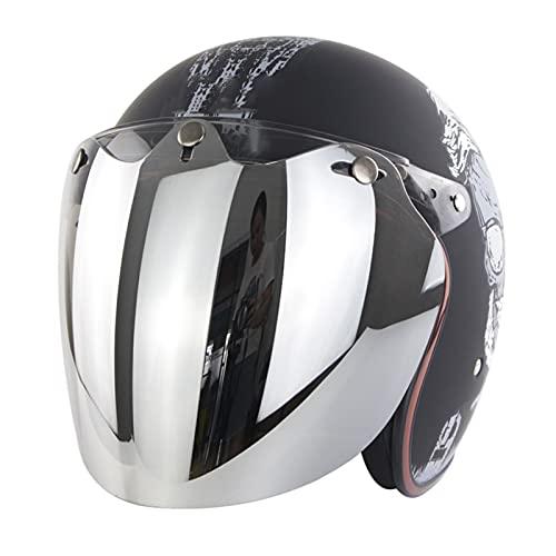 Cascos Abiertos Motocicleta De Cara Abierta Casco De Moto Deportes Al Aire Libre Ciclismo Seguridad Helemt Dot/ECE Homologado para Mujer Hombre Adultos (Color : Black A, Size : S/Small 55-56cm)