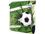 KlebeSpatz® Motiv Wand Briefkasten Premium mit Zeitungsfach Zeitungsrolle für C4 Fussball Soccer WM grün mit Zeitungsrolle C4