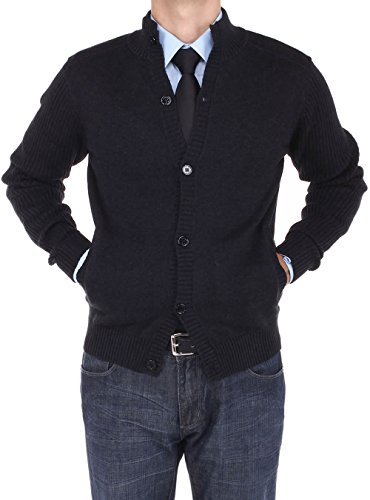 Luciano Natazzi Mens Mock Neck Ribbed Long Sleeve Cardigan Sweater Relaxed Fit (XXX-Large, Black)