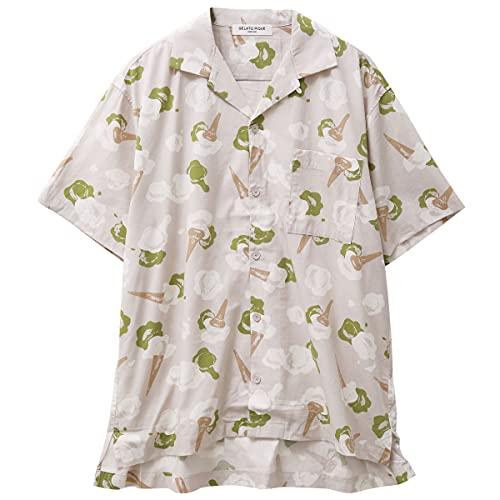 (ジェラートピケ オム)GELATO PIQUE HOMME メンズ アイスモチーフシャツ ジェラピケ パジャ(GY-グレー、L)