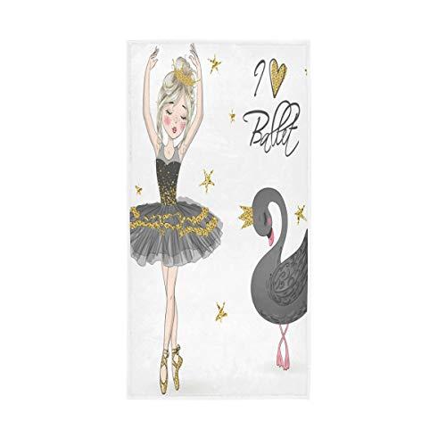 BKEOY Toalla de baño Hermosa Bailarina Niña Negro Cisne Toalla de Mano Toallas de Playa