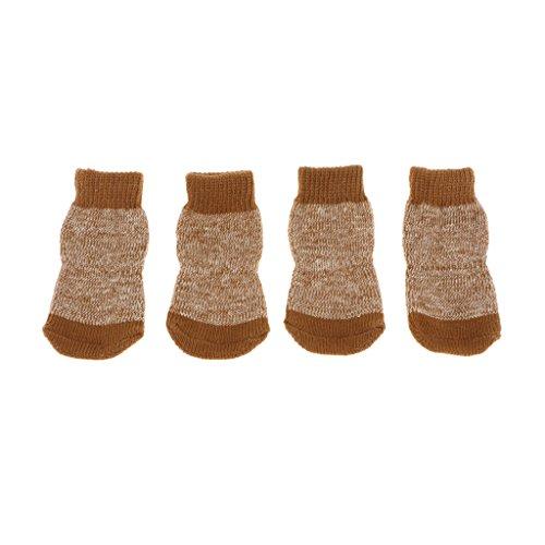 MagiDeal Pet Hund Puppy Katz Schuhe Hausschuhe rutschfest Socken aus Baumwolle - M