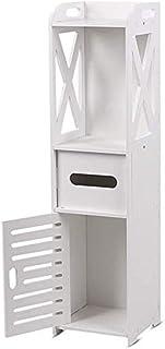 Small Bathroom Storage Corner Floor Cabinet with Doors and Shelves, Thin Toilet Vanity Cabinet, Narrow Bath Sink Organizer...