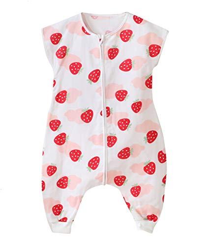 Happy Cherry - Bebé Saco de Dormir con Piernas Separable Algodón Bolsa de Dormir sin Mangas Primavera Verano Fresa 1-2 Años