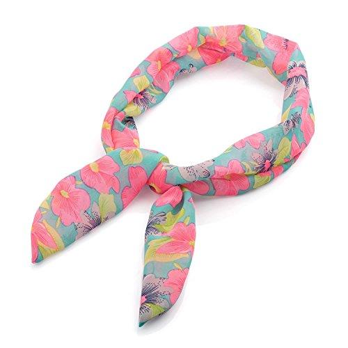 Chocolate Pickle® Nouveau Femmes Noir Et Multi Couleur Tropical Fleur Imprimé Câbler Foulard Bandeaux Green And Pink