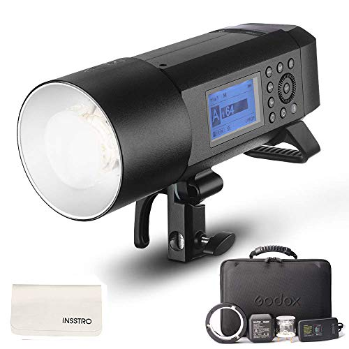 portable flash for cameras Godox AD400Pro All-in-One Outdoor Flash Strobe, 400W 2.4G TTL Portable Speedlite with Battery and AC/DC Powered with Bowens Mount and Godox Mount
