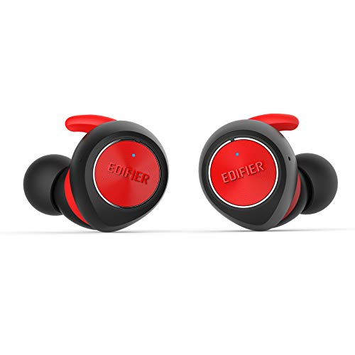 Edifier TWS3 Truly Wireless Earbud Headphones - Charging Case, Bluetooth v4.2, IPX4 Splash & Sweatproof - Red