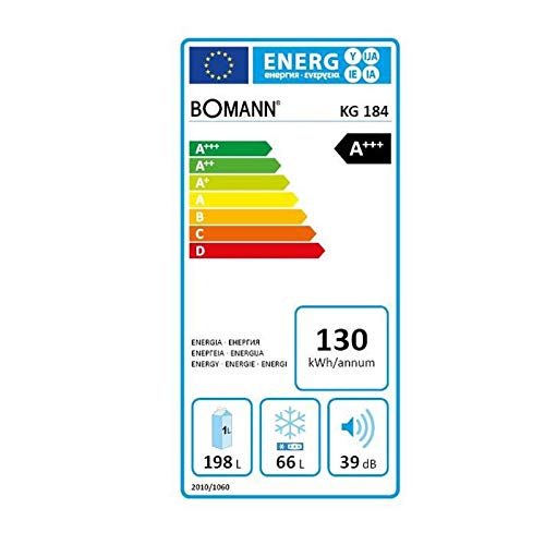 Bomann KG 184 Kühl-/Gefrierkombination / EEK A+++ / 198 L Kühlen / 66 L Gefrieren / 130 kWh