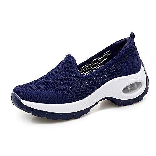 [kanouhope] ナースシューズ スニーカー 厚底 ダイエット 運動靴 女性 ウォーキング スポーツシューズ ランニング 歩行姿勢調整 矯正靴 疲れない お出かけ ブルー ?37