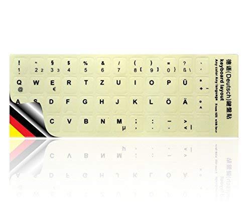 LEDELI Tastaturaufkleber nachtleuchtend Fluoreszierende Tastatur Aufkleber Keyboard Sticker für leuchtet phosphoreszierend LED Ersatz (QWERTZ Deutsch Layout Leuchtend)