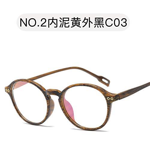 WLLAQ Anti Affaticamento Occhiali Proteggi Occh- Gafas Planas Gafas con Luz Plana Gafas Redondas Retro Vintage Gafas De Madera Ultra Ligeras Tr90 Unisex, Barro Negro