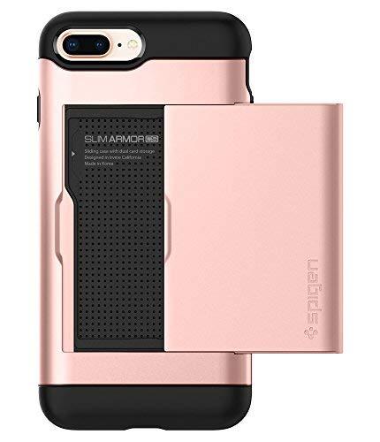 Spigen 043CS20527 Slim Armor CS Kompatibel mit iPhone 8 Plus / 7 Plus Hülle, 2-teilige Kartenfach TPU PC Rückschale Schutzhülle Case Rose Gold