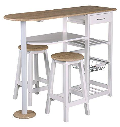 PEGANE Table-Bar et 2 tabourets Top Chef Couleurs fraîches, L 119 x P 37 x H 88 cm