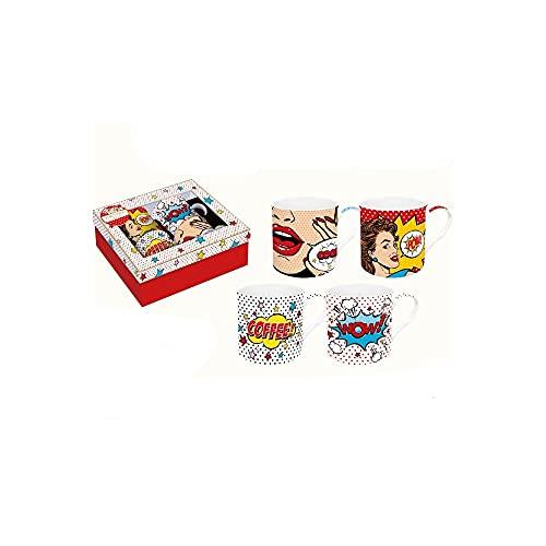 EASY LIFE Juego de 4 tazas de porcelana fina china en caja de regalo, Pop Art 300 ml