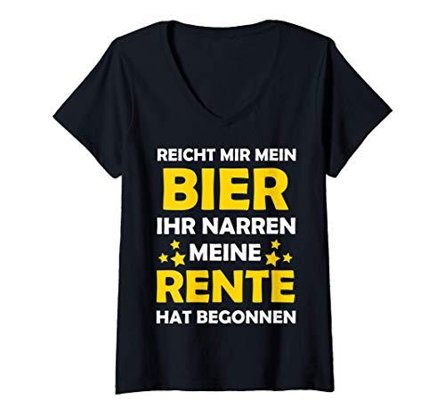 Damen Reicht Mir Bier - Rentner 2021 Ruhestand Rente Pension T-Shirt mit V-Ausschnitt