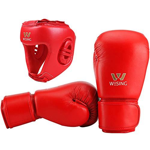 Wesing, guantoni da Boxe e Copricapo da Competizione, Approvati da AIBA, Uomo, Red, M