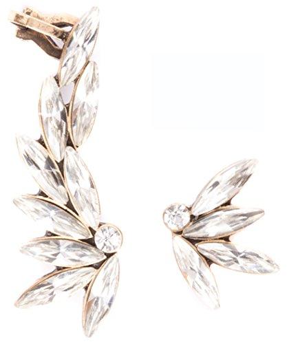 Happiness Boutique Orecchini Ear Cuff Asimmetrici con Cristalli Trasparenti | Orecchini Ear Cuff Statement in Oro Antico senza nickel
