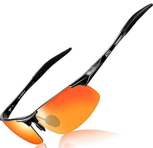 ATTCL Herren Polarisierte Treiber Glasses Sport Sonnenbrillen Al-Mg Metallrahme Ultra leicht 8177 Black-Red