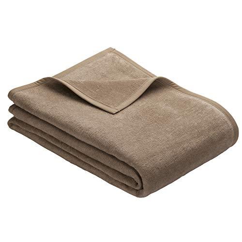 Ibena Kuscheldecke Porto 3560 / Tagesdecke Schlamm/Wolldecke 150x200 cm/besonders flauschig weich und angenehm warm, Baumwollmischung in hervorragender Qualität in vielen Größen erhältlich