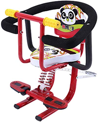 Buy Cheap CFJKN Child Bike Seat Front Mount, Portable Detachable Bicycle Baby Seat with Handrail and with Foot Pedals for Children Toddlers Kids,red