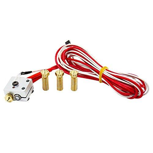 DollaTek V6 metal Hotend 1.75mm Extrusora kit de bricolaje incluir Boquilla extrusora y Bloque calentador y Termistor 100k y bloque de calefacción para la impresora 3D RepRap