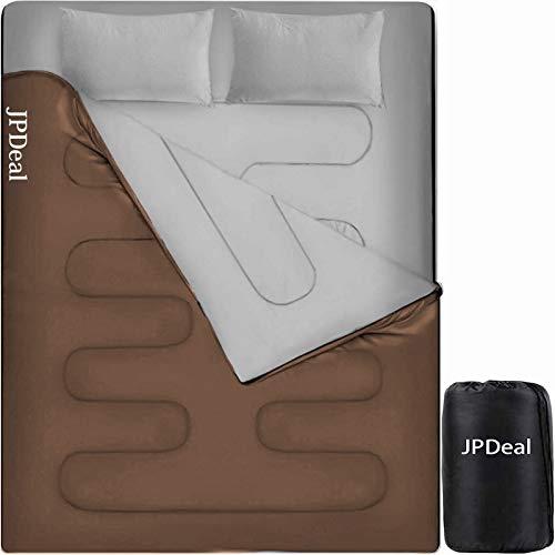 JPDeal 寝袋 封筒型 シュラフ コンプレッションバッグ 枕付き 210T防水シュラフ 連結可能 保温 軽量 コンパクト アウトドア 登山 キャンプ 車中泊 避難用 丸洗い可能 収納パック付き