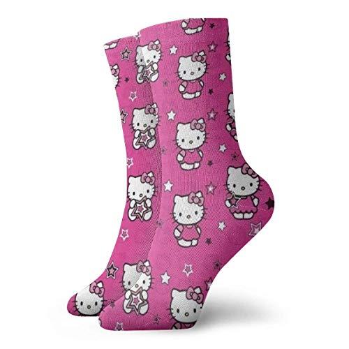 LREFON Calcetines de compresión Hello-Kitty Socks Crew Funny Casual Unisex Print Tobillo Sport Sock