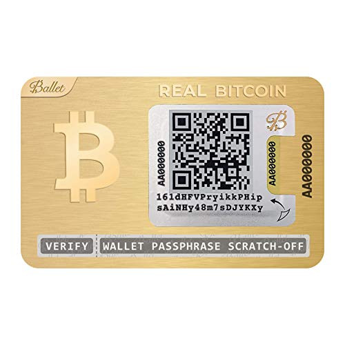 Ballet Cryptocurrency Physical Wallet, 24K Gold-Plated, Real Series Stainless Steel, with Bitcoin and Multicurrency Support (Single)
