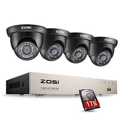 Preisvergleich Produktbild ZOSI HD 720P Video Überwachungssystem 8CH 1080N DVR mit 4 Außen 720P Tag Nacht Dome Überwachungskamera Set für Innen und Außen,  1TB Festplatte,  20M IR Nachtsicht,  Kabelgebunden