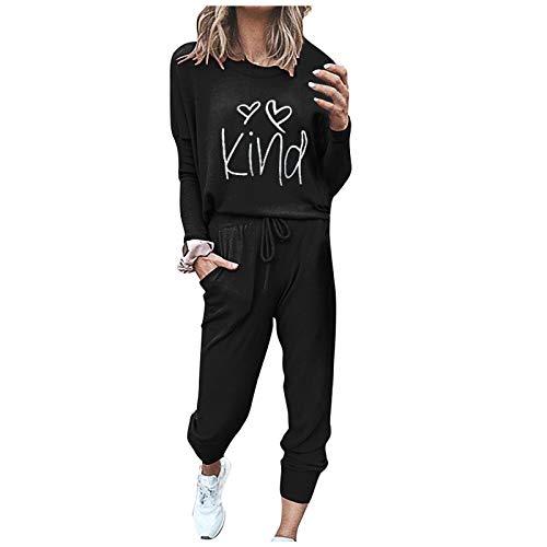 Pantaloni Larghi con Fasciatura Tuta da Donna Fashion O-Collo Solido Pullover Manica Lunga (L,2Nero)