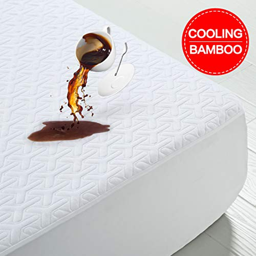 Premium Cooling Waterproof Mattress Protector Queen Size 3D Bamboo Air Fabric Ultra Soft Breathable Mattress Pad Cover Soft Smooth Comfort & Protection Phthalate & Vinyl-Free Noiseless (White, Queen)