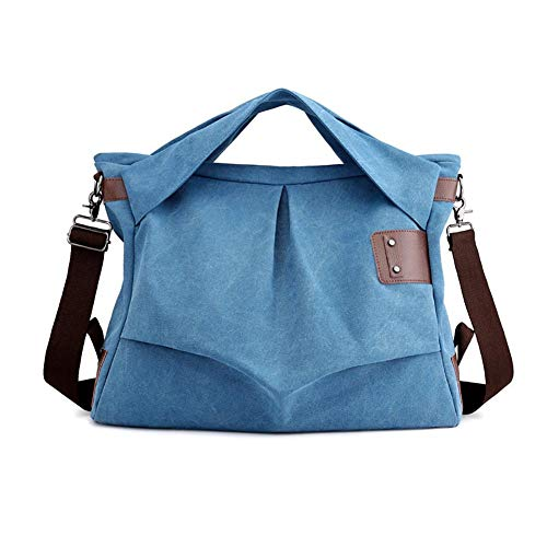 Nowbetter Bolso bandolera casual para mujer con un hombro, bolso de lona y bolso con correa de hombro ajustable, color azul, azul (Azul) - JQVZUHIODK
