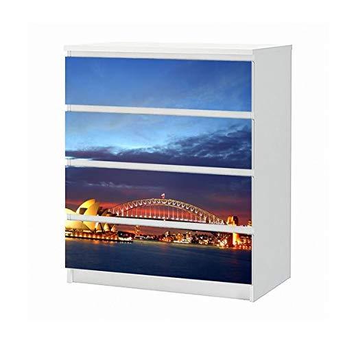 Set Möbelaufkleber für Ikea Kommode MALM 4 Fächer/Schubladen Sydney - Australien - Opera House und Harbour Bridge Aufkleber Möbelfolie sticker (Ohne Möbel) Folie 25B1760