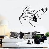 Sexy mujer cara pared calcomanía labios modelo de moda salón de belleza niñas dormitorio maquillaje habitación decoración interior pegatinas de vinilo Mural A6 42 × 32 CM