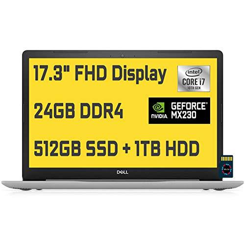 2020 Dell Inspiron 17 3793 Business Laptop   17.3' Full HD   10th Gen Intel Core i7-1065G7   24GB RAM 512GB SSD + 1TB HDD   GeForce MX230   Maxx Audio Win 10 + Delca 32GB MicroSD Card