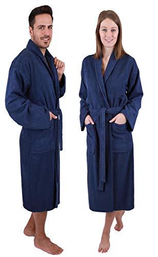 Betz Bademantel mit Schalkragen MADRID für Damen und Herren 100% Baumwolle Größen S-XXL Größe M/blau