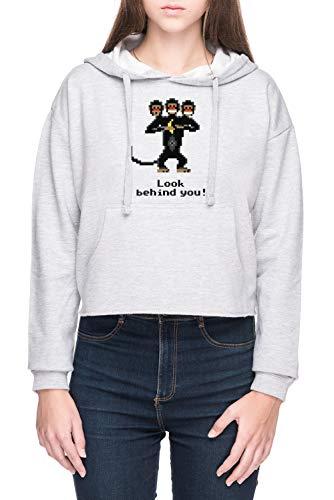 Vendax Dreiköpfige AFFE Damen Bauchfreies Crop Kapuzenpullover Sweatshirt Grau Women's Crop Hoodie Grey