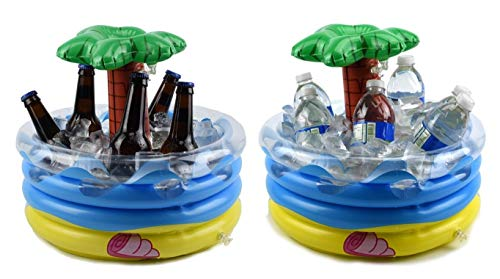Fun 4 Ages, Ice Bucket – Beer Cooler - Palm Tree Inflatable Cooler - Table Top Centerpiece Beer Bucket - Pool Party Floating Cooler for Your Luau Hawaiian Party Decorations – 10 qt Cooler (Pack of 2)