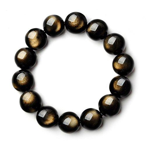 Osye Precious Gemstone Black Obsidian Crystal Beads Stretch Bracelet (8mm)