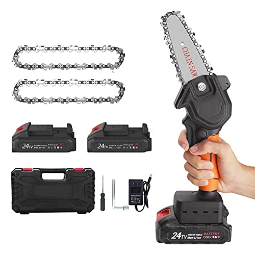 Mini Chainsaw Cordless, 4-Inch 24V Power Chain Saw with Safety Lock, Portable Pruning Shears Chainsaw kit, for Tree Trimming, Branch Wood Cutting(2 Chains,2 Batteries, Plastic Box)