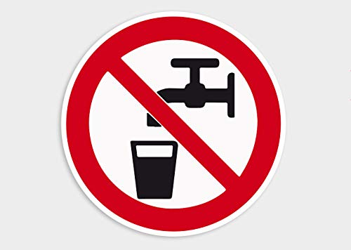 Premium sticker geen drinkwater aanwijzing Ø 10 cm rond weer- en UV-bestendig