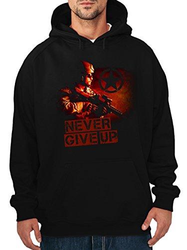clothinx Herren Kapuzenpullover Never Give Up Schwarz Gr. XXL