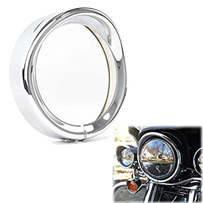 5.75 Inch Harley Headlight Chrome Trim Ring Motorcycle Headlamp Protector 5.75'' Decorative Visor Rings for Harley Davidson 94-14 FLHR Touring Electra Glide Motorcycle Chrome, 1pc
