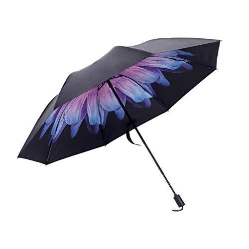 Regenschirm Kinder-Schwarz Leichte Regenschirm Inner mit Verschiedenen Blumen Muster Windproof Sturmfest, Taschenschirm Stabil gegen UV-Strahlung, Vinyl Umbrella Wasserfest (B)