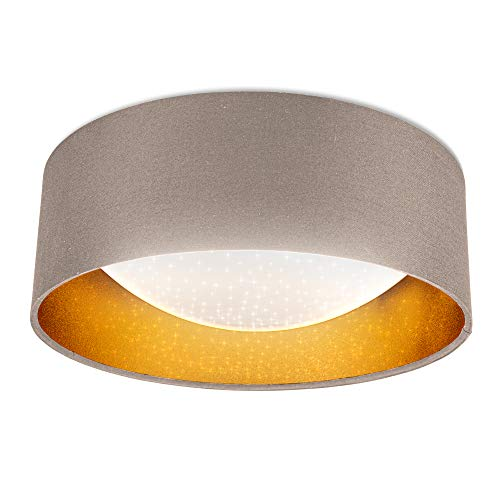 B.K.Licht I LED Stoff-Deckenleuchte mit Sternenhimmeleffekt I Taupe-Gold I 12W LED-Platine I 1.200lm I 4.000K neutralweiße Lichtfarbe I Stofflampe I Ø32cm