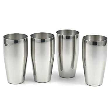 StainlessLUX 77365 4-piece Brilliant Stainless Steel Tumblers / (24 Oz) Drinking Glass Set - Quality Drinkware for Your Enjoyment