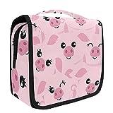 Hanging Travel Toiletry Bag Kit Makeup Case Cosmetics Organizer for Men Women (Cute Pigs)