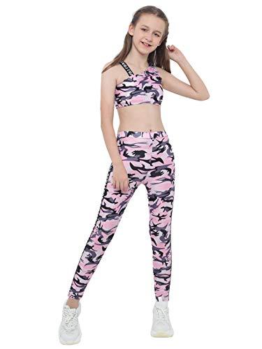 YOOJIA Mädchen Sport BH und Jogginghose Leggings ärmellos Sportanzug Trainingsanzug Kinder Jogginganzug für 3-16 Jahre Camouflage Rosa 134-140