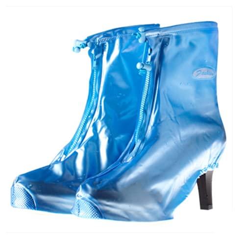 TYPING Cubierta de Zapato Impermeable Tacones Altos de Las Mujeres único Grueso Antideslizante Botas de Lluvia para Hombres y Mujeres para Viajes al Aire Libre,Azul,L