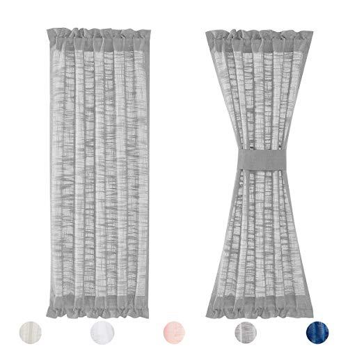 Fmfunctex Sidoljus dörrgardiner grå 183 cm linne texturerad integritet semi rena franska dörrpaneler för ytterdörr glasdörr fönster 61 cm b x 2-pack